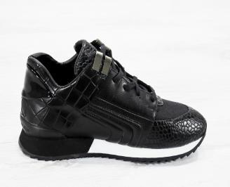 Мъжки спортни обувки еко кожа черни KRWG-25618