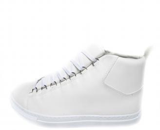 Мъжки спортни обувки еко кожа бели BJDK-19895