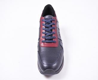 Мъжки спортни  обувки естествена кожа сини PRJR-1010806