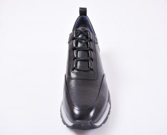 Мъжки спортни обувки естествена кожа черни ZHYX-1010971