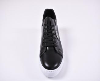 Мъжки спортни обувки естествена кожа черни FRED-1011237
