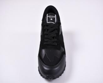 Мъжки спортни обувки естествена кожа черни JUPH-1011239