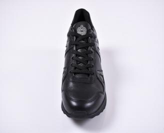 Мъжки спортни обувки естествена кожа черни FGCH-1011252