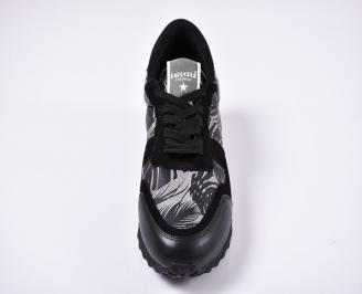 Мъжки спортни обувки естествена кожа/ велур черни XHHW-1011256