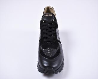 Мъжки спортни обувки естествена кожа черни RIDK-1011258