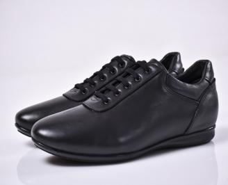 Мъжки спортни обувки естествена кожа черни QAUB-1014343