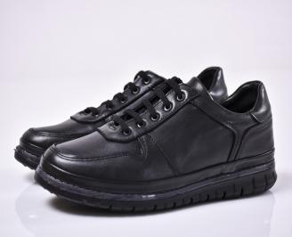 Мъжки спортни обувки естествена кожа черни XCXZ-1014344