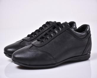 Мъжки спортни обувки естествена кожа черни QLNA-1014347