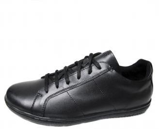 Мъжки спортни обувки естествена кожа черни YVMJ-20347