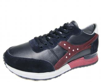 Мъжки спортни обувки естествена кожа сини AGRP-20572