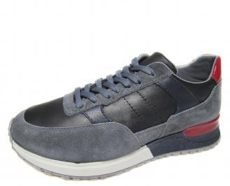 Мъжки спортни обувки естествена кожа черни CUGE-20573