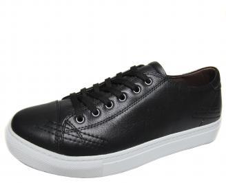 Мъжки спортни обувки естествена кожа черни IMCF-20574