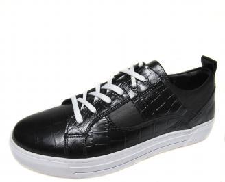 Мъжки спортни обувки естествена кожа черни GZUN-20596