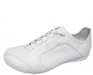 Мъжки спортни обувки естествена кожа бели VNPJ-21086