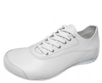 Мъжки спортни обувки естествена кожа бели FKNW-21087