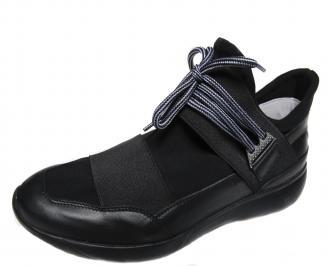 Мъжки спортни обувки естествена кожа черни ZPVQ-21092