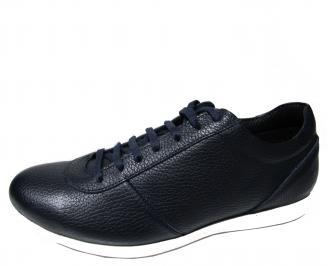 Мъжки спортни обувки естествена кожа тъмно сини EJIO-21232
