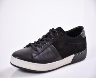 Мъжки спортни обувки естествена кожа черни TPBI-21281