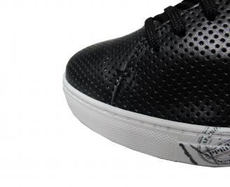 Мъжки спортни обувки естествена кожа черни JAVK-21373