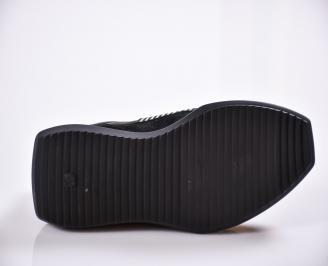 Мъжки спортни обувки естествена кожа черни EMHZ-21968