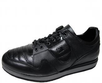 Мъжки спортни обувки естествена  кожа черни HYCW-22290