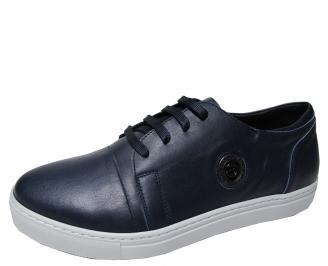 Мъжки спортни обувки естествена кожа тъмно сини DFBR-22367