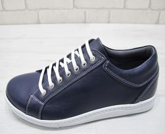 Мъжки спортни обувки естествена кожа тъмно сини NAWN-23003
