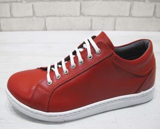 Мъжки спортни обувки естествена кожа червени QYAN-23017