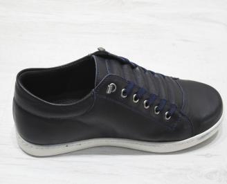 Мъжки спортни обувки естествена кожа тъмно сини FXDG-23118
