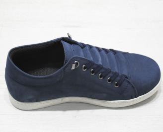 Мъжки спортни обувки естествена кожа тъмно сини TCKC-23120
