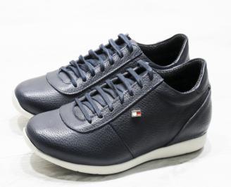 Мъжки спортни обувки естествена кожа тъмно сини AFBM-23370