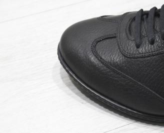 Мъжки спортни обувки естествена кожа черни YQLA-23379