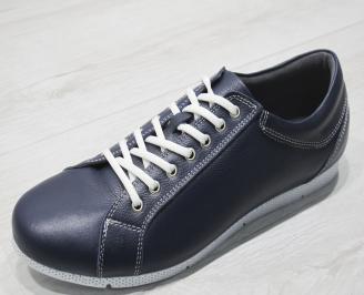 Мъжки спортни обувки естествена кожа тъмно сини QZFQ-23463