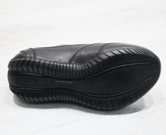 Mъжки спортни обувки естествена кожа черни YRLG-23720