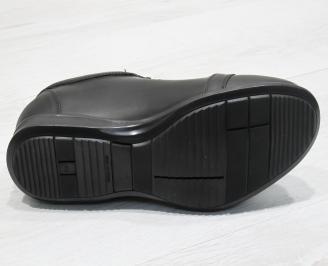 Мъжки спортни обувки естествена кожа черни SKKO-23734