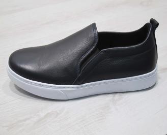 Мъжки спортни обувки естествена кожа тъмно сини WFUX-24300
