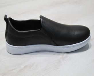 Мъжки спортни обувки естествена кожа черни TNEM-24301