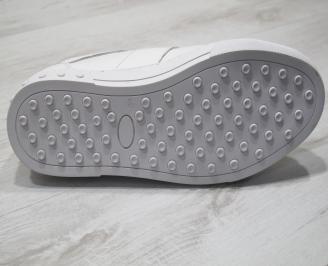 Мъжки спортни обувки естествена кожа бели PLMU-24303