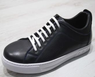 Мъжки спортни обувки естествена кожа тъмно сини SDID-24306