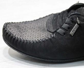 Мъжки спортни обувки естествен набук черни ZVKM-24610