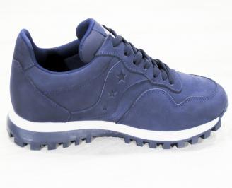 Мъжки спортни обувки естествен набук тъмно сини LYYK-25244