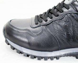 Мъжки спортни  обувки естествена кожа черни JVFL-25245