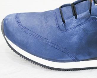 Мъжки спортни  обувки естествена кожа сини GHXJ-25249