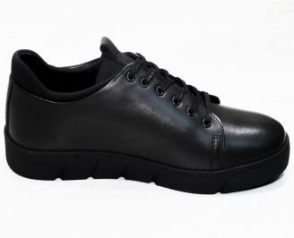 Мъжки спортни обувки естествена кожа черни BRUX-25316