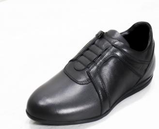 Мъжки спортни обувки естествена кожа черни HWKD-25317