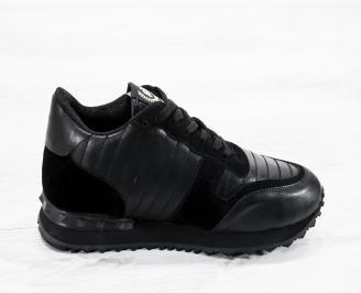 Мъжки спортни обувки естествена кожа черни YWMU-25615