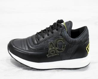 Мъжки спортни обувки естествена кожа черни DOJJ-25622