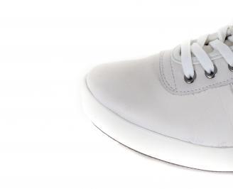 Мъжки спортни обувки естествена кожа бели TRNI-16374