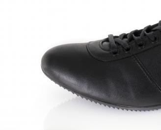 Мъжки спортни обувки естествена кожа черни UDKA-16383