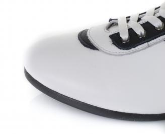 Мъжки спортни обувки естествена кожа бели KTIF-16447